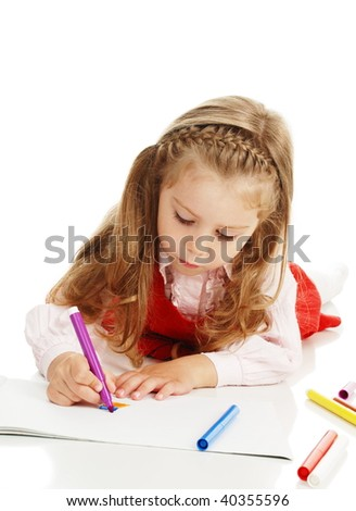 The thoughtful girl with a felt-tip pen