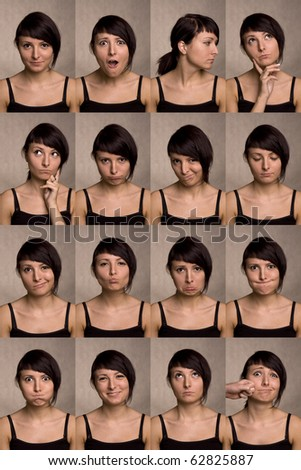 The thousand faces of the actor. Useful facial expressions over white background. - stock photo