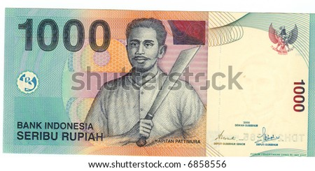 The thousand rupiah bill of Indonesia, 2000, rich colors
