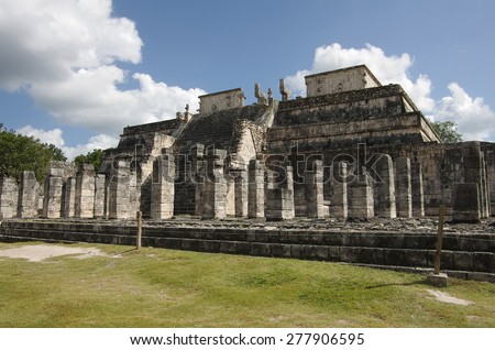 The thousand warriors temple complex inside the maya archeological site of Chichen Itza, Mexico - stock photo