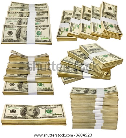 the thousands US dollars heaps isolated on white background - stock photo