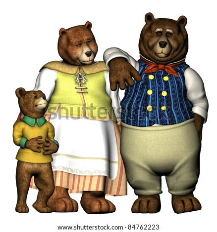 The three bears well dressed in their finest clothing. Momma, Papa and Baby Bear. Isolated on white background. Cutout clip art illustration. - stock photo