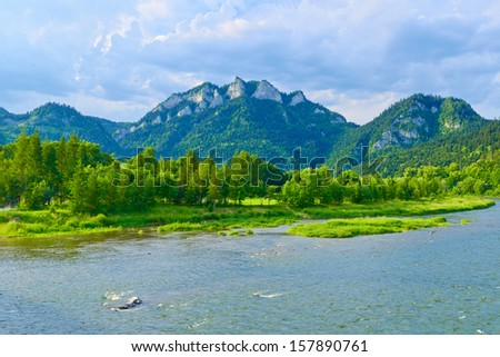 The Three Crowns over The Dunajec River. The Pieniny mountain range in Poland. - stock photo
