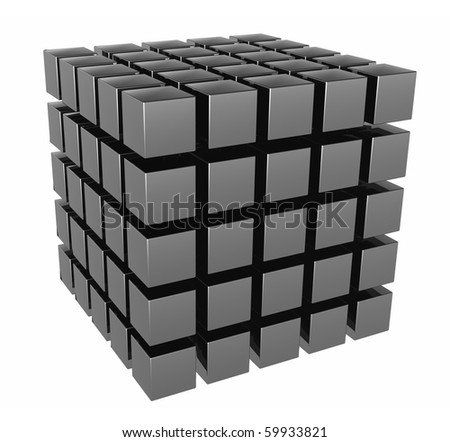 The three-dimensional image of a set of cubes. It is isolated on a white background - stock photo