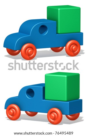 The three-dimensional image of the toy car on a white background - stock photo
