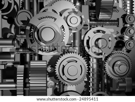 The three-dimensional model of an abstract arrangement of a gear - stock photo