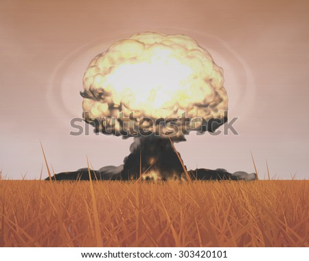 The Three-dimensional Mushroom Cloud of Nuclear Explosion symbolizing Global War issues, Environmental Protection and the Danger of Nuclear Energy (Rendering in 3D Program). - stock photo