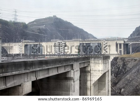 the Three Gorges Dam at Yangtze River in China - stock photo