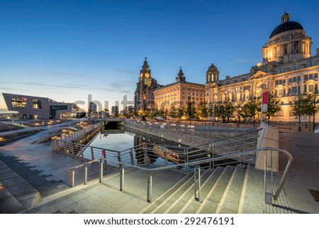 The Three Graces on Liverpool's Pier Head watefront - stock photo