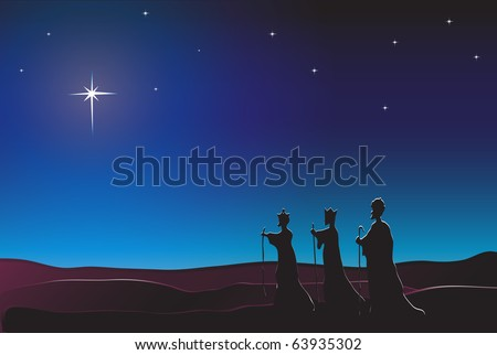 The Three Kings follow the star in the East to Bethlehem. Nativity scene. Also available in vector format. Space for text. - stock photo