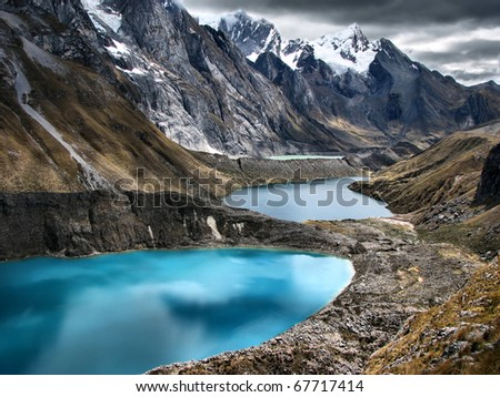 "The three lagoons at the Huayhuash Trek- Better known as "" The Second most beautiful terk in the world "" rated by National Geographic - stock photo"