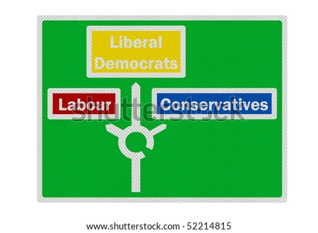 The three major UK political parties. Photo realistic sign, isolated on white - stock photo
