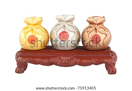 The three of money bag the symbol of wealth - stock photo