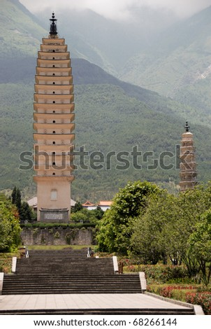 The Three Pagodas in Chongsheng Monastery, Dali, Yunnan province in China on a cloudy day - stock photo