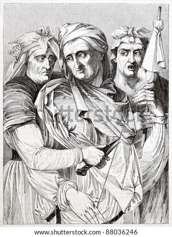 The three Parcae, after painting of Michelangelo kept in Palazzo Pitti, Florence. Published on Magasin Pittoresque, Paris, 1844 - stock photo