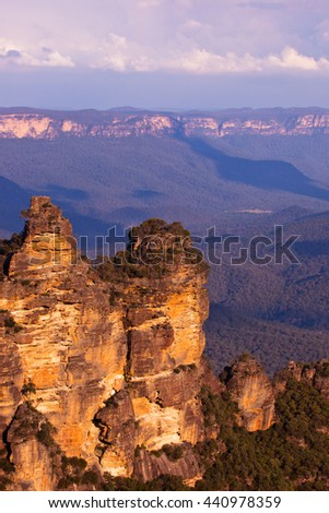 The Three Sisters at sunset, Australia The Three Sisters towering above the Jamison Valley