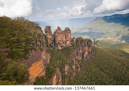 The Three Sisters, Blue Mountains National Park, NSW, Australia - stock photo