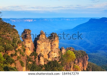 The Three Sisters From Echo Point, Blue Mountains National Park, NSW, Australia - stock photo