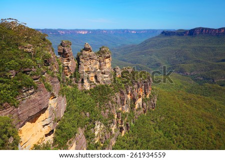 The Three Sisters in the Australian Blue Mountains - stock photo