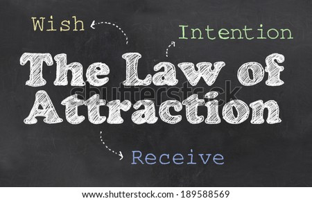 The Three Step Process with Law of Attraction on Blackboard - stock photo
