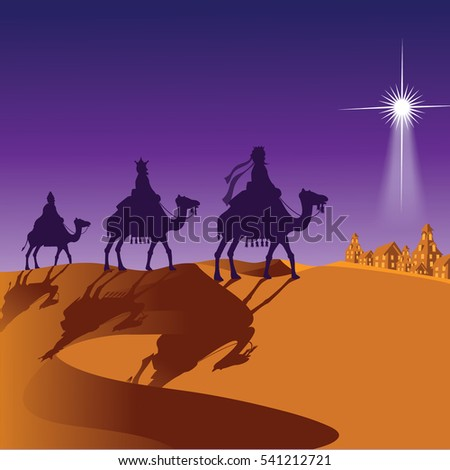 The three wise men riding camels.