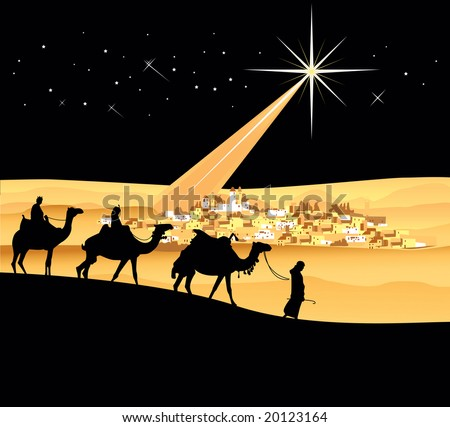 The three wise men, vector illustration - stock photo