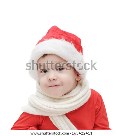 the three-year-old  child in Santa Claus - stock photo
