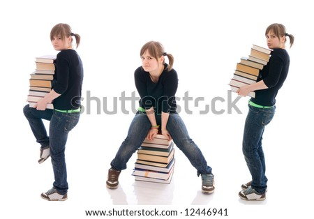 The three young student with a books isolated on a white background - stock photo