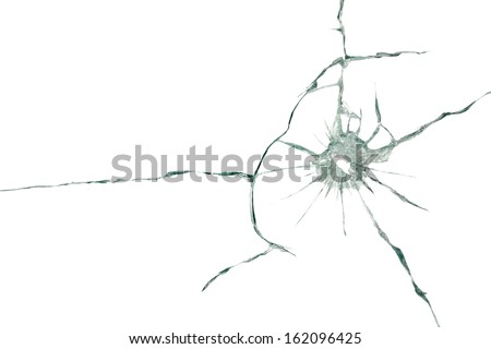 The through the bullet hole in the glass on white background - stock photo