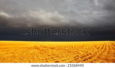 The thunder-storm in a countryside in state of Montana begins - stock photo