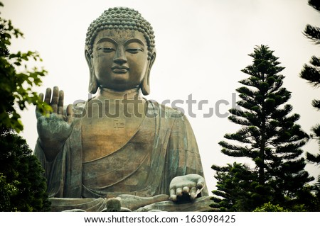 The Tian Tan Buddha in Hong Kong  - stock photo