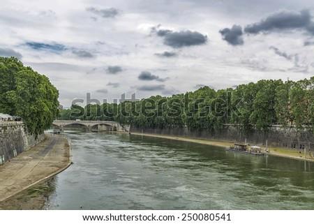 The Tiber river in Rome. - stock photo