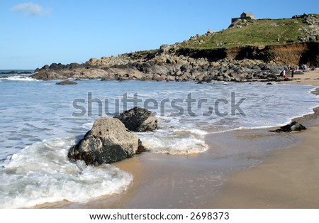 The tide coming in at St. Ives, Cornwall. - stock photo