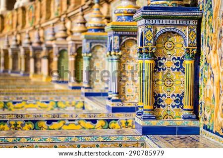The tiled walls of Plaza de Espana. Seville. Spain. - stock photo