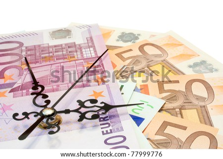 The time is money concept made with euros. - stock photo