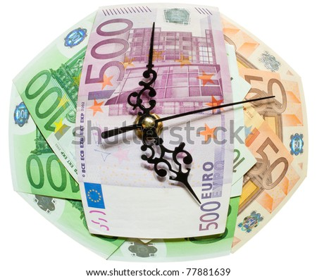 """The """"Time is money"""" concept made with euros and clock hands. - stock photo"""