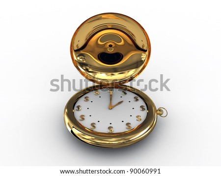 The time is money. 3D image on white background