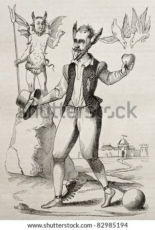 The Time Man, old 16th century caricature. By unidentified author, published on Magasin Pittoresque, Paris, 1840 - stock photo