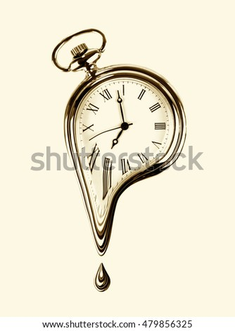 The time melting. Surreal style 3D image. sepia effect image.