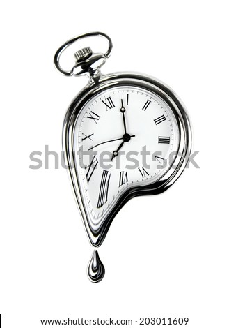 The time melting. Surreal style image. Isolated on white background. - stock photo
