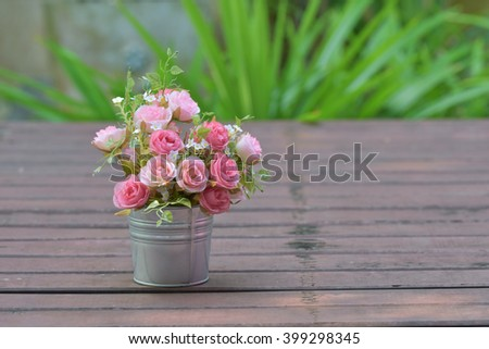 The time of romance With a bouquet of roses in a flower pot