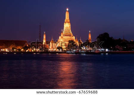 The time of Thailand temple in the Twilight time Bangkok - stock photo