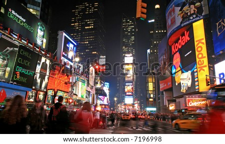 The Times Square in New York City at night - stock photo