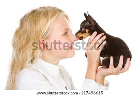 the tiny puppy kisses the girl on a nose. isolated on white background