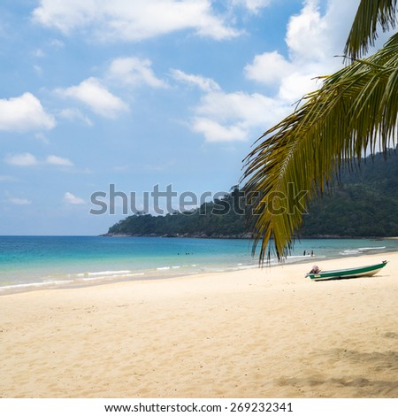the Tioman island beach in Malaysia, peace and joy - stock photo