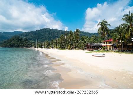 the Tioman island beach in Malaysia, peace and joy - stock photo