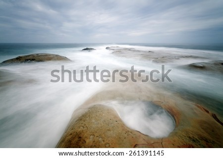 The Tip of Borneo, Simpang Mengayau, Malaysia with long exposure effect Image has grain or blurry or noise and soft focus when view at full resolution. (Shallow DOF, slight motion blur) - stock photo