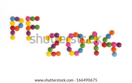 The title PF 2014 written of the colored smarties. New Year theme. - stock photo