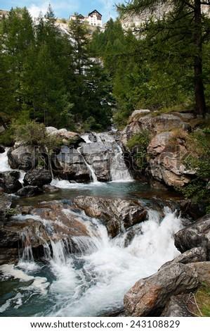 "The Toce Waterfall ""Cascata del Toce"", Val Formazza, Italy - stock photo"