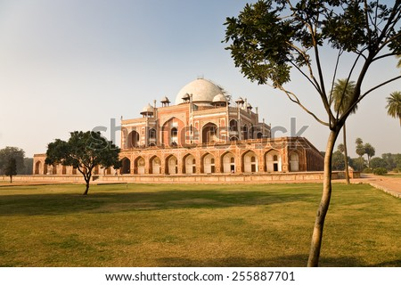 The tomb of mughal emperor Humayun seen from its gardens in New Delhi in India - stock photo